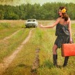 Beautiful brunette with a suitcase in the countryside. Photos in — Stock Photo