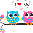 Stock Vector: Two owls in love