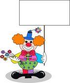 A clown with a placard — Stock Vector