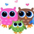 A colorful owl family — Stock Vector