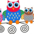 Stock Vector: Colorful owls
