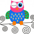 Stock Vector: Flirty colorful owl