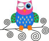 轻浮的多彩猫头鹰 — 图库矢量图片