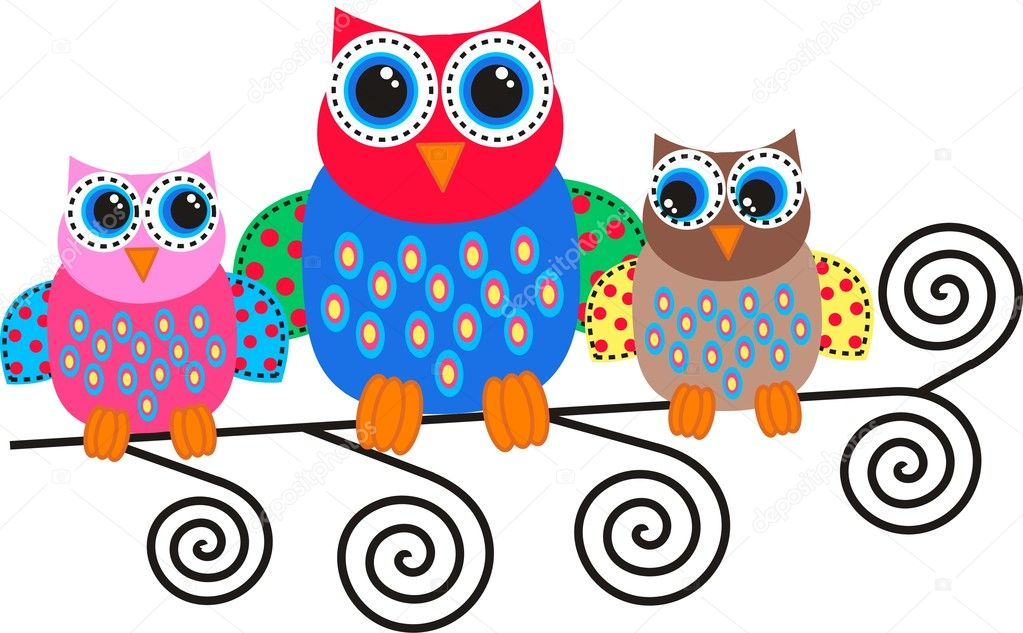 Colorful owls  Stock Vector #10687876