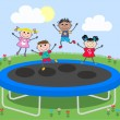 Mixed ethnic kids on a trampoline — Stock Vector