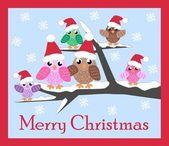 Merry christmas owl family — Stock Vector