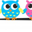 Colorful cute owls — Stock Vector