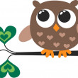 Stock Vector: A cute little brown owl