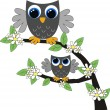 Stock Vector: Two cute owls