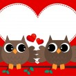 Vetorial Stock : Two owls in love