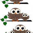 Stock Vector: Brown owls
