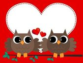 Two owls in love — Stock Vector