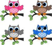 四个不同猫头鹰 — 图库矢量图片