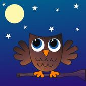 A brown owl sitting on a branch — Stock Vector
