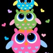 Three colorful cute owls — Stock Vector #9542051