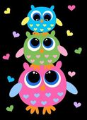 Three colorful cute owls — Stock Vector