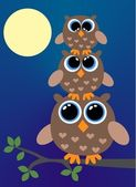 Three brown owls — Stock Vector