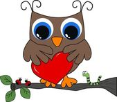 A brown owl with a big heart — Stock Vector