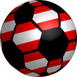 Austria flag soccer ball — Stock Photo