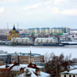 Port on confluence two rivers Nizhny Novgorod — Stock Photo