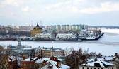 Port on confluence two rivers Nizhny Novgorod — Stock Photo