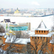 Winter view of Arrow (Strelka) from Nizhny Novgorod Kremlin — Stock Photo