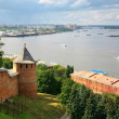 View to Strelka from Nizhny Novgorod Kremlin in Russia — Stock Photo