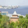 View of spit cape Strelka (arrow) from Kremlin Nizhny Novgorod — Stock Photo
