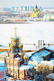 February view Stroganov Church and Cathedral Nevsky — Stock Photo