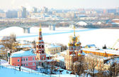 February view Stroganov Church and Cathedral Alexander Nevsky — Stock Photo