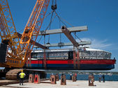 Launching new catamaran — Foto de Stock