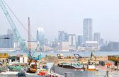 Groot bouwterrein in grote stad. — Stockfoto