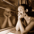 Woman in train — Stock Photo