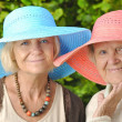Foto Stock: Happy women in hats.