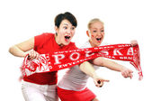 Two Polish soccer fans. — Stock Photo