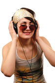 Young woman listening to music. — Stock Photo