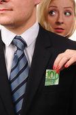 Euro in suit. Thief. — Stock Photo