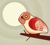 フクロウと月光 — ストックベクタ