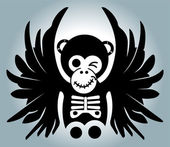 Monkey with wings - illustration — Stock Vector