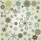 复古雪花背景緑の t シャツのデザイン テンプレート — 图库矢量图片