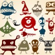 Royalty-Free Stock Vector Image: Many cute doodle monsters