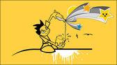 иллюстрация детей с молоком — Cтоковый вектор