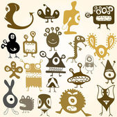 Many cute doodle monsters — Stock Vector
