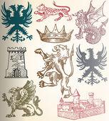 Heraldic set — Stock Vector