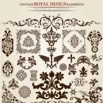 Flower vintage royal design — Stock Vector