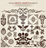 Flower vintage royal design — Stock Vector