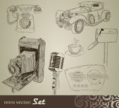 Retro doodle set — Vetor de Stock