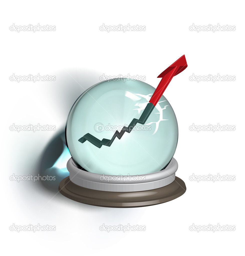 Broken magic crystal ball and finance arrow — Stock Vector #9670178