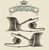 Pekande fingrar, retro illustration — Stockvektor