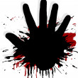 Blood splat with a hand - Stock Vector